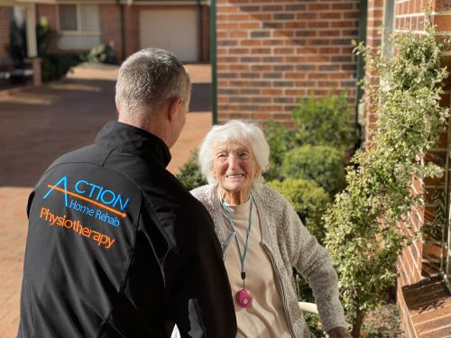 home visit physiotherapy for better mobility at home in older senior person aged care Action Home Rehab